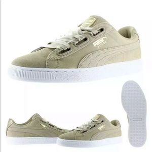 Puma women's suede heart safari beige sneakers